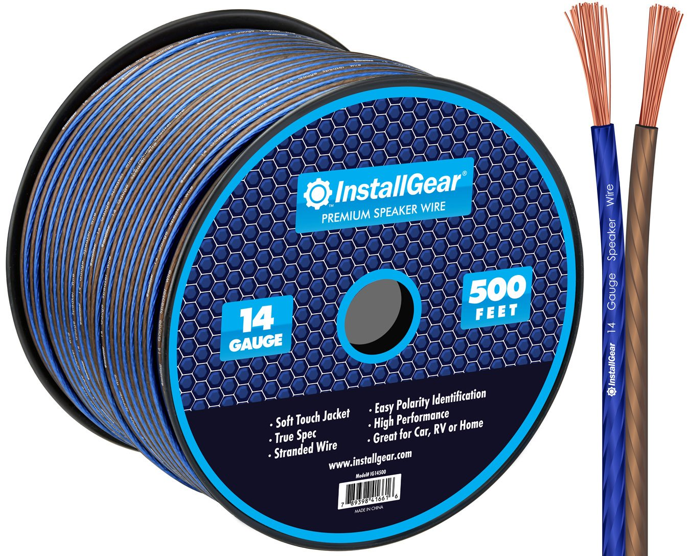 InstallGear 14 Gauge AWG 500ft Speaker Wire True Spec and Soft Touch Cable by InstallGear
