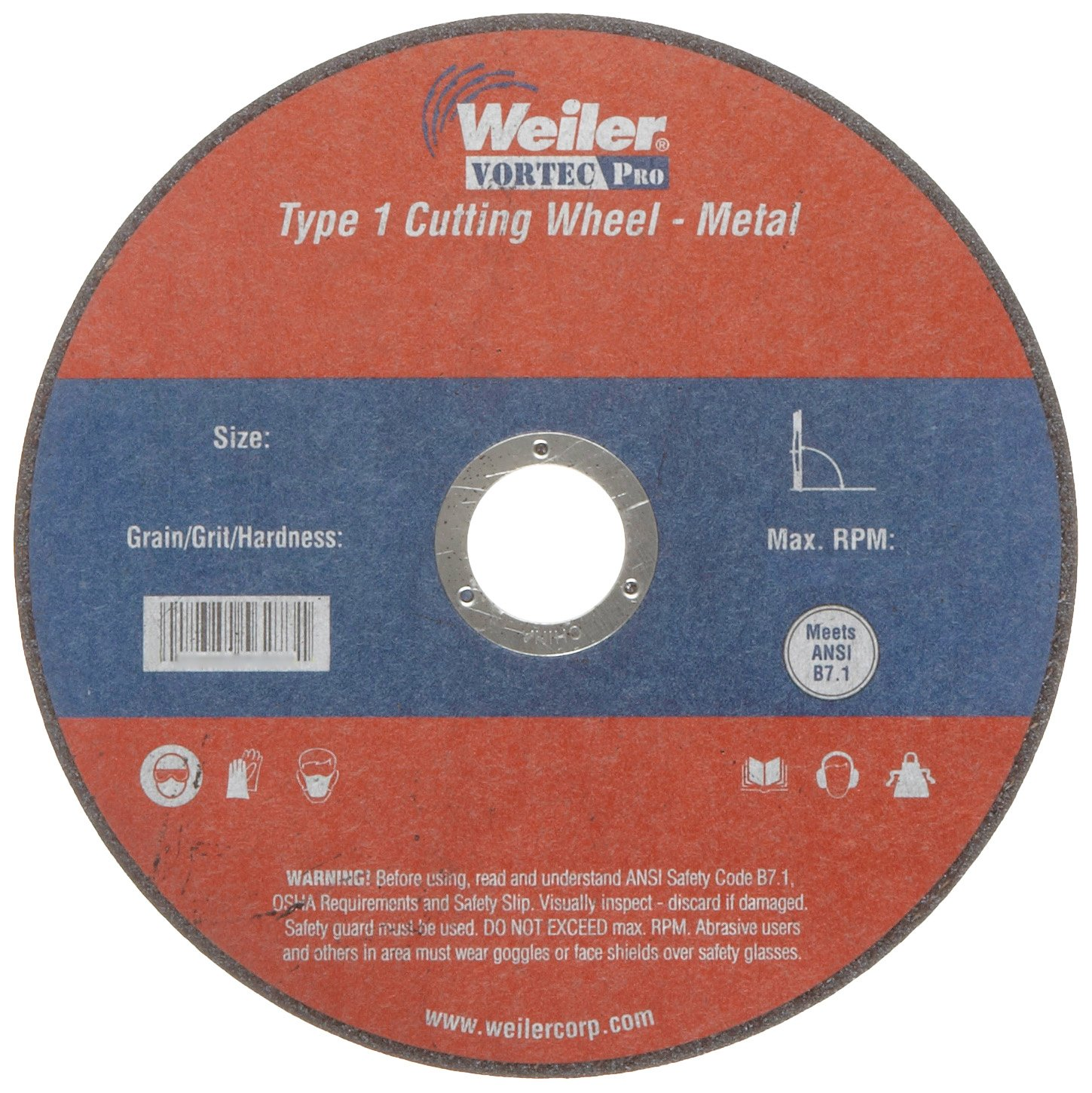 0.045 Thickness A60T Grit Weiler 7//8 Arbor 6 Diameter Type 1 Large Reinforced Cut-Off Wheel 0.045 Thickness 6 Diameter Weiler Corporation 56273
