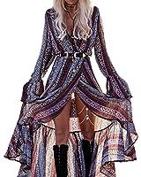 R.Vivimos Women Summer Beach Boho Floral Print Ruffles Wrap High Slit Maxi Dresses
