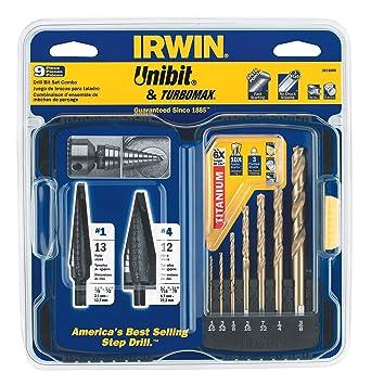 Irwin Industrial Tools 3018008 Unibit TiN TurboMax Pro Drill Bit Set, 9-Piece