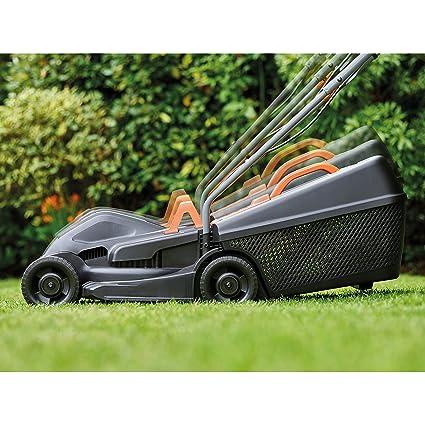Black+Decker BEMW351GL2 - Cortacésped eléctrico (1000 W, 32 cm de ancho de corte, ajuste de altura de corte triaxial, depósito de 35 l, incluye ...