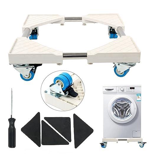 YaeTek - Base multifuncional móvil con 4 ruedas giratorias dobles para lavadora, secadora y nevera