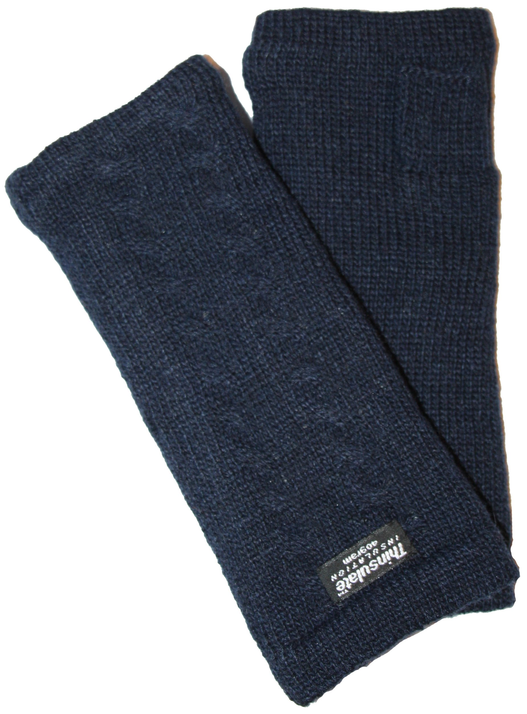 EEM knitted arm warmers DIANA made of 100% wool, Thinsulate lining, plait pattern, navy