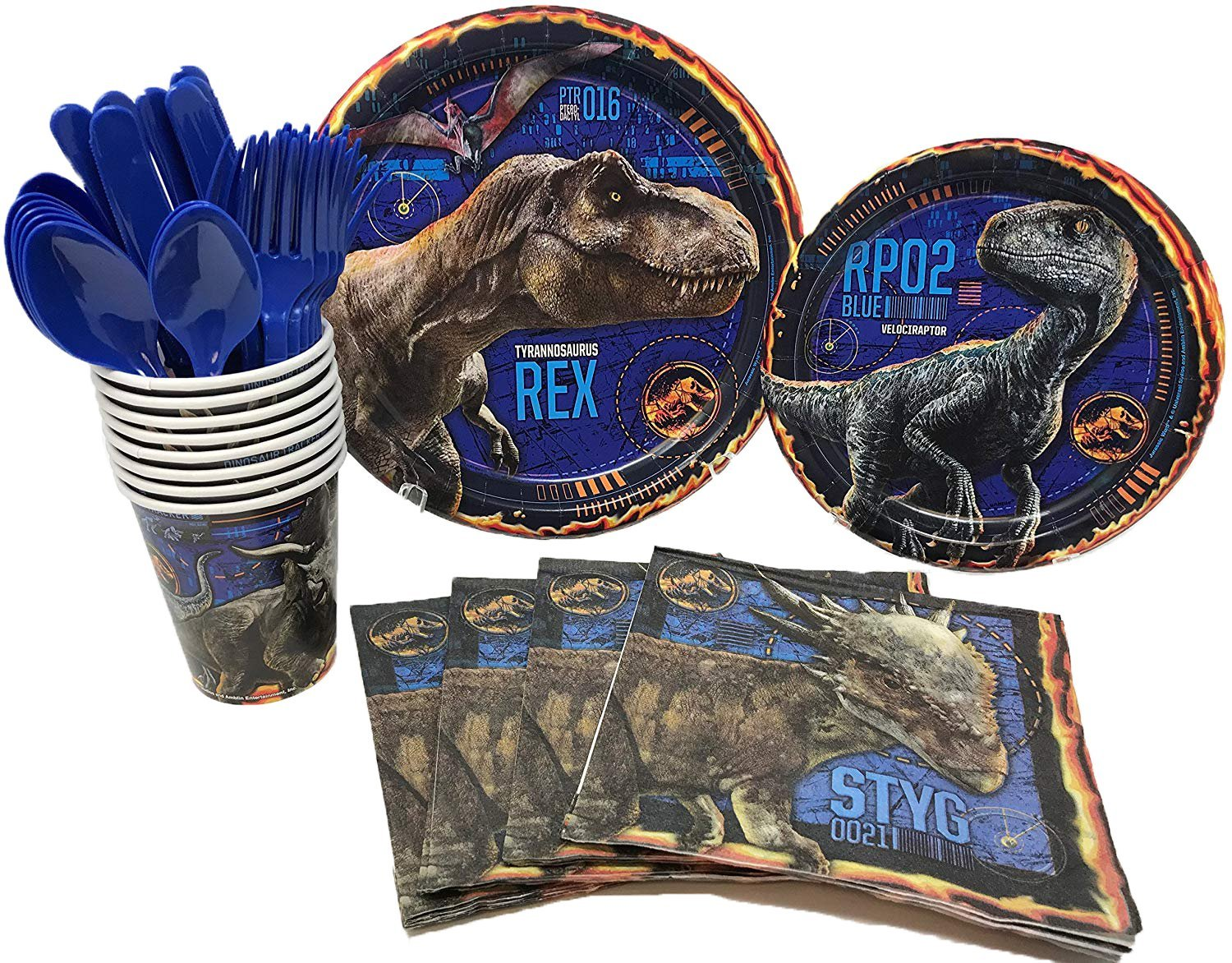 BashBox Jurassic World Fallen Kingdom Dinosaur Birthday Party Supplies Pack Including Cake & Lunch Plates, Cutlery, Cups & Napkins for 8 Guests