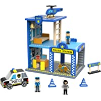Deals on TOYSTERS My Big Police Station Wooden Emergency Vehicle Playset