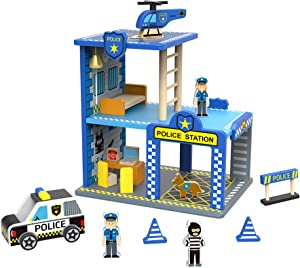 TOYSTER'S My Big Police Station Wooden Emergency Vehicle Playset | Toddler Toy House Dollhouse for Boys and Girls | Kids Wood Play Set Police Headquarters Playhouse | Suitable for Ages 3 and Up