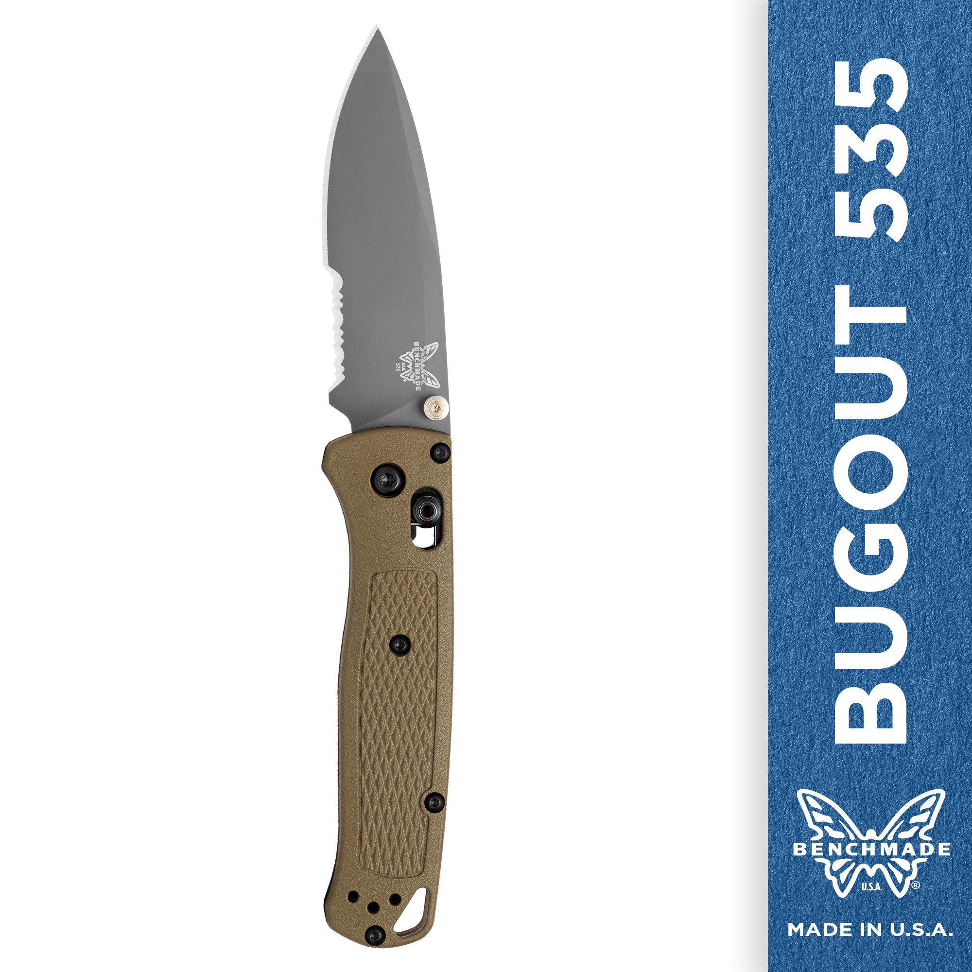 Benchmade - Bugout 535 Folding Knife for Everyday Carry and Camping, Drop-Point Blade, Serrated Edge, Coated Finish, Green Handle