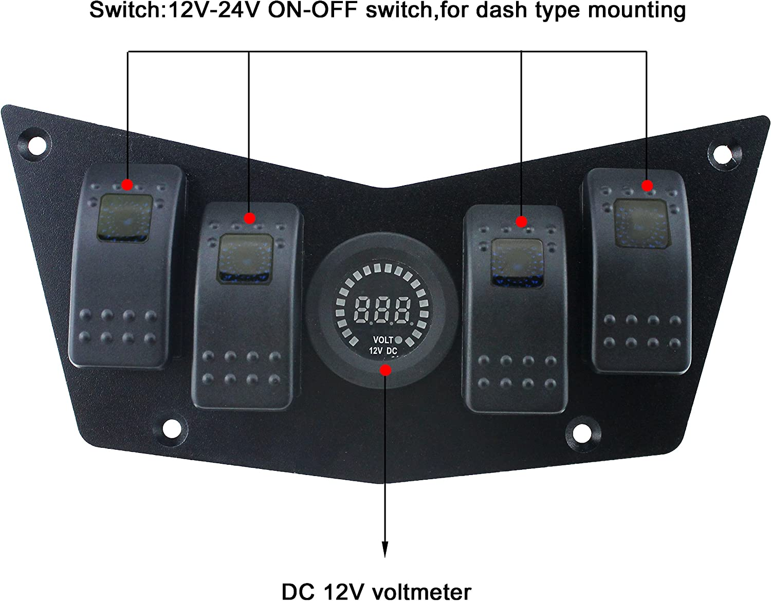 IZTOSS Aluminum Black Dash Panel Plate w//4 on//Off Blue Rocker Switches and 2.4A USB with Switch for Polaris RZR XP 900 800 S570 with Installation Kits