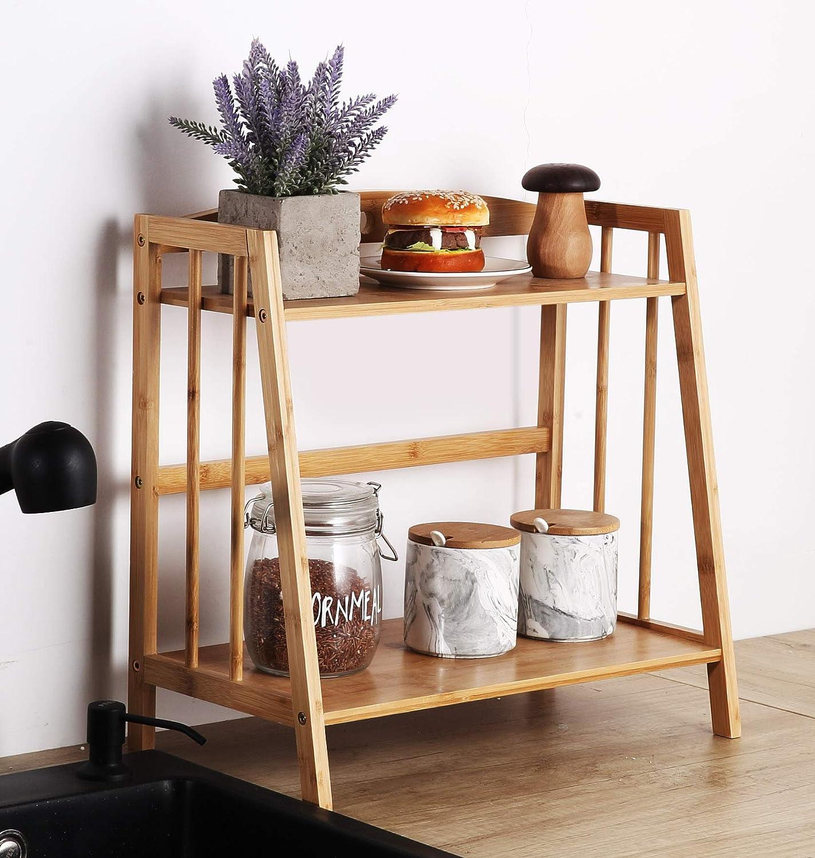 Bamboo Spice Rack Storage Shelves-2 Tier Countertop Storage Organizer for Kitchen&Bathroom,Makeup Organizer Display Shelf Standing pantry Shelf, Desktop Book shelf, Bottle Jars Rack Holder(Sector)