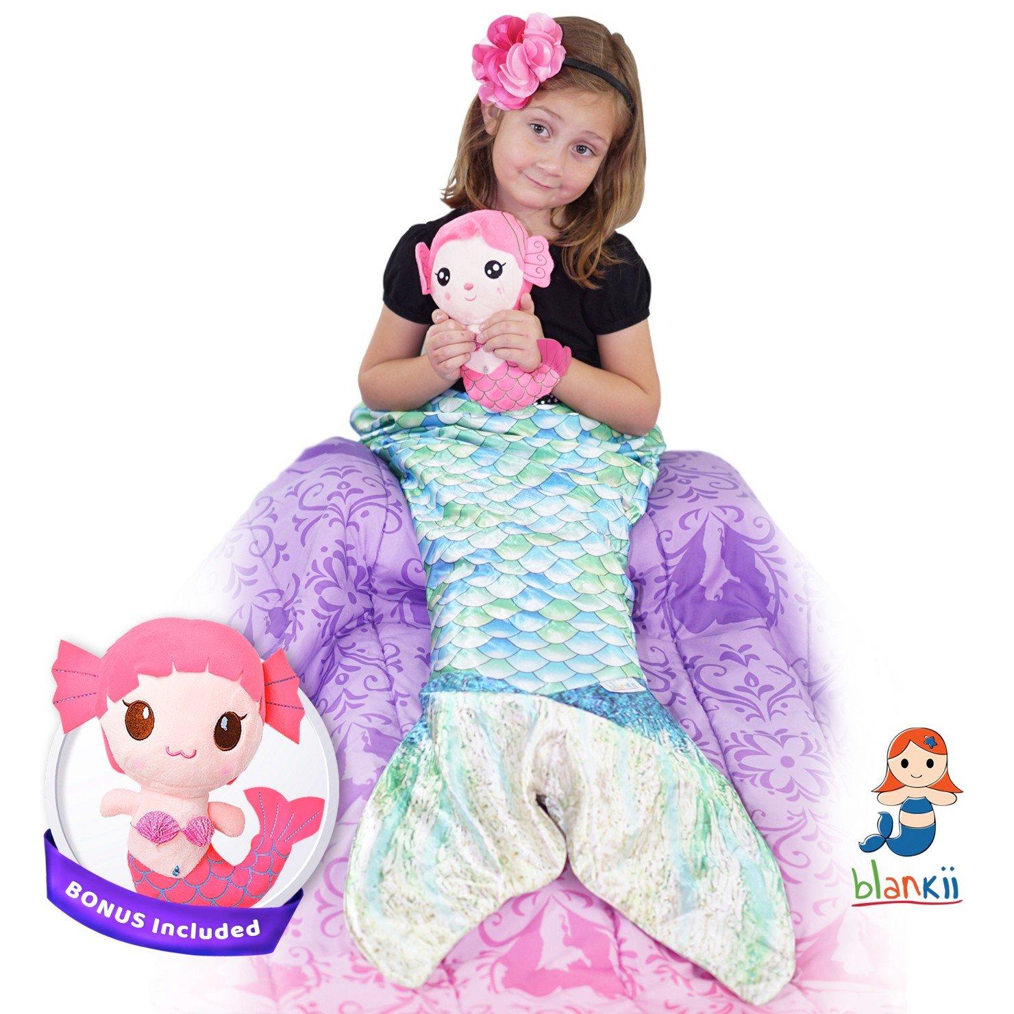 amazon com blankii kids mermaid tail blanket soft minky fleece