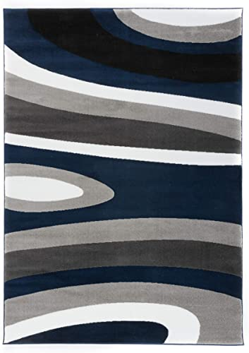 Rugshop Abstract Contemporary Modern Area Rug 9' x 12' Navy