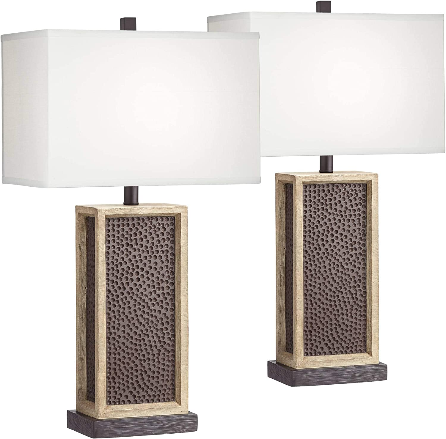 Leandro Modern Rustic Table Lamps Set of 2 LED Dimmable Speckled Brown Column White Rectangular Shade Decor for Living Room Bedroom House Bedside Nightstand Home Office Family - John Timberland