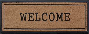 """A1 Home Collections A1HCRB6555 Doormat A1HC Welcome Hand-Crafted Rubber Coir Double Door Mat, 16""""X48"""", 16"""" X 48"""", Black Border"""