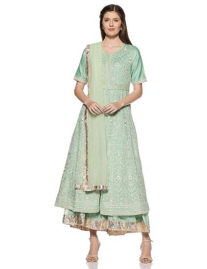 eeb92cd4b61 BIBA Women s Rayon Achkan Salwar Suit Set  Amazon.in  Clothing ...