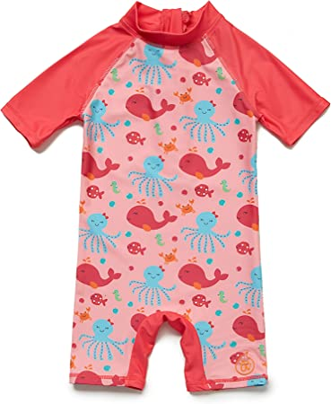 Baby Girls Sunsuit UPF 50 Red,24-36Months Sun Protection One Pieces Long Sleeves Swimwear with Sun Hat