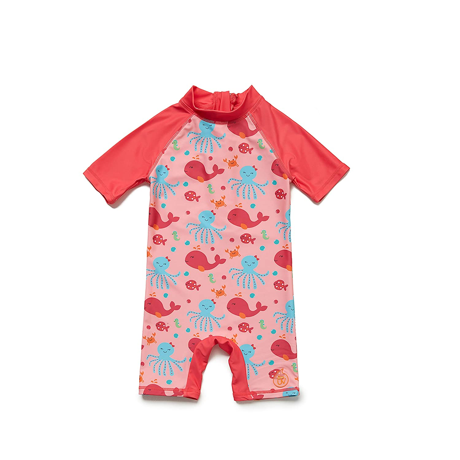 Watermelon Red, 18-24Months Sun Protection One Pieces Short Sleeves Swimsuit with Sun Hat Bonverano Baby Girls Sunsuit UPF 50