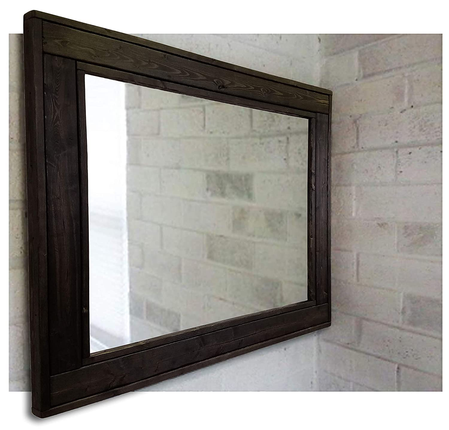 Available in 4 Sizes and 20 Stain colors: Shown in Red Chestnut Rectangular Mirror Vanity Mirror Wall Mounted Mirror Large Bathroom Mirror Herringbone Reclaimed Wood Framed Mirror