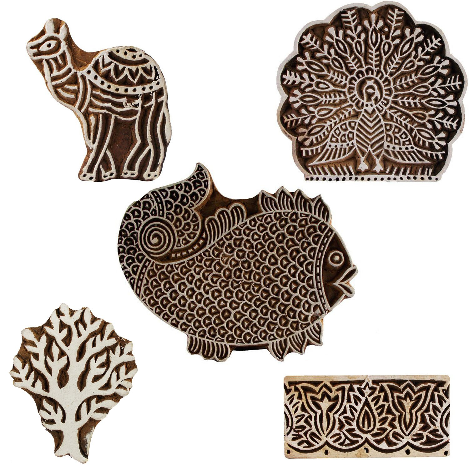 Set of 5 Wooden Textile Handmade Camel Peacock Fish Tree Floral Border Printing Block Clay Potter Craft Scrapbook Stamps
