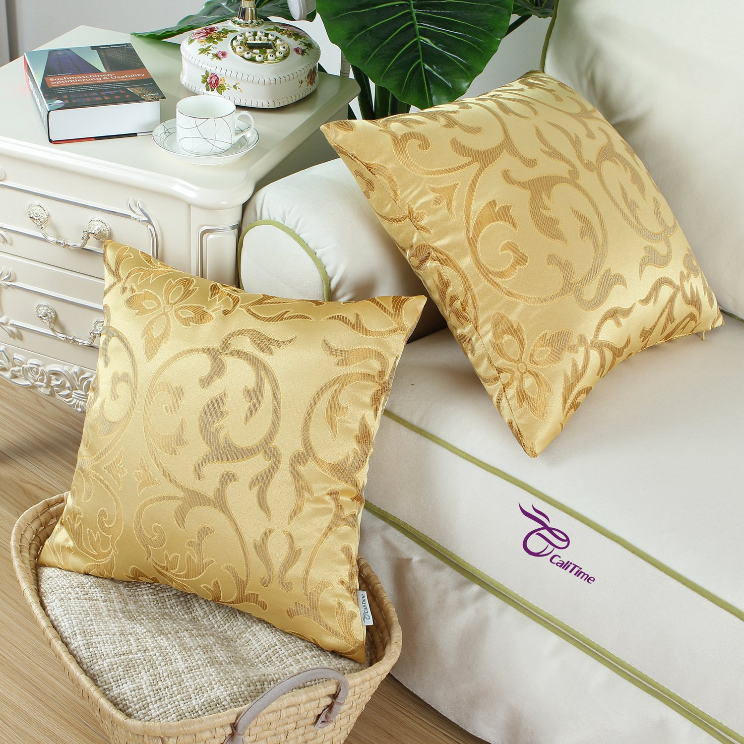 CaliTime Cushion Covers 2 Pack 30cm x 50cm Navy Vintage Floral Both Sides Throw Pillow Cases
