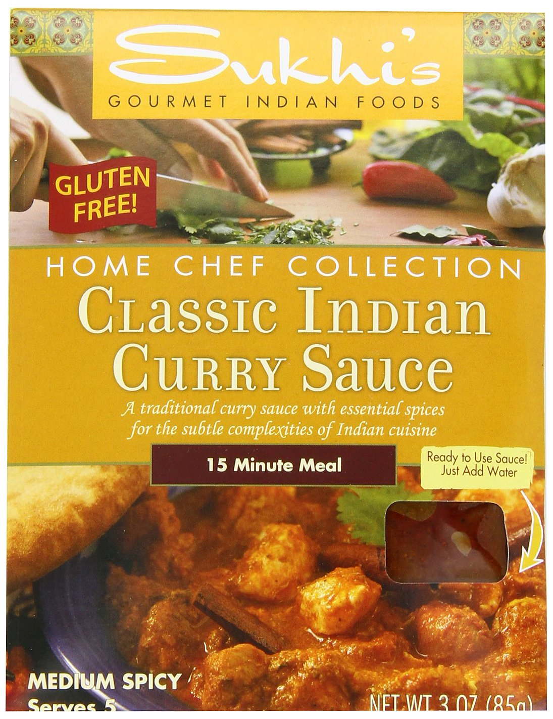Sukhi's Gourmet Indian Foods Gluten-Free Classic Indian Curry Sauce, 3-Ounce Packets  (Pack of 6)