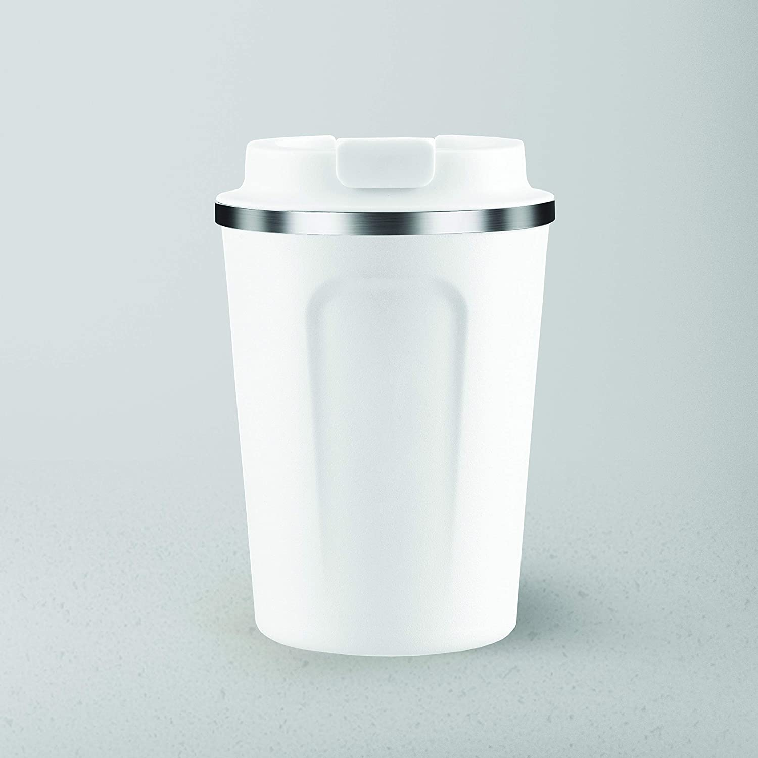 Asobu Coffee Compact Vacuum Insulated Travel Mug With Spill Proof Lid 13 ounce (White)