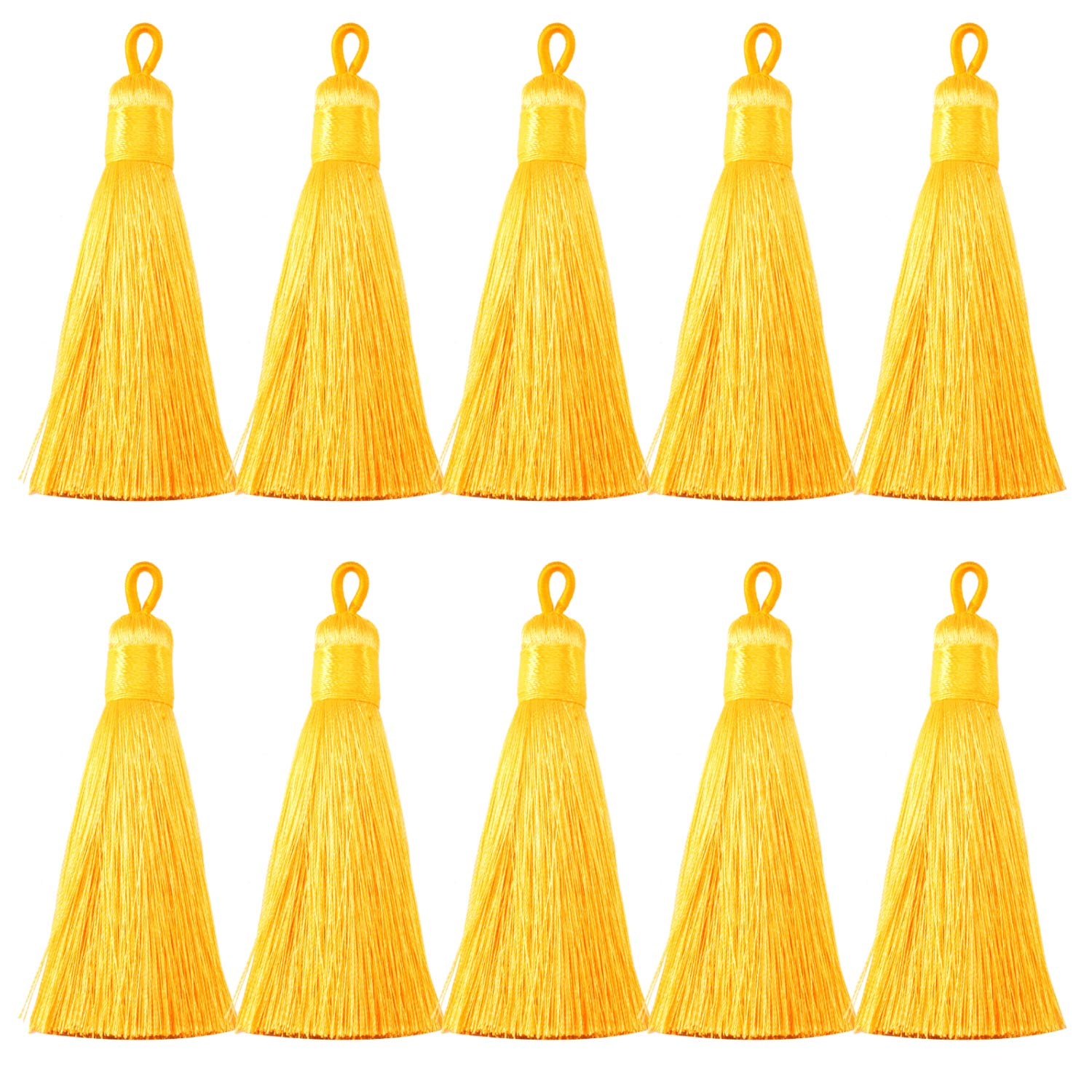 Forise 20Pcs 0.5 Wide Tassels Gold Fashion Handmade Silky Elegant Tassels with Hanging Loop for DIY Jewelry Making Accessories
