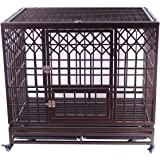 Haige Pet Heavy Duty Dog Crate Large Metal Strong Dog Kennel Cage with Wheels and Tray, Y Type