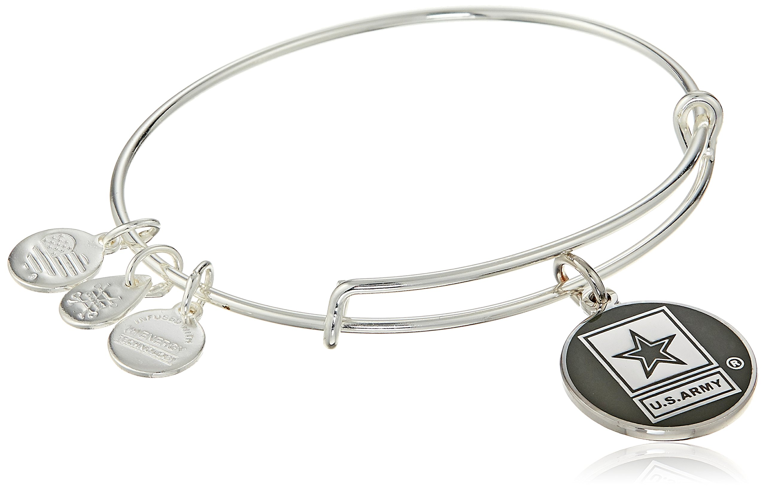 Alex and Ani Armed Forces US Army Expandable Silver Wire Bangle Charm Bracelet