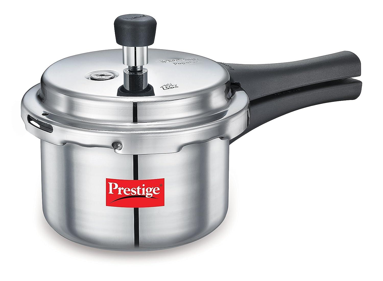 Prestige Popular Hard Anodized Aluminium Pressure Cooker, 1.5 Litres, White (10038)