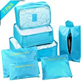 Packing Cubes Travel Set of 7 Packing Organizer and Compression Pouches with Shoe Bag,Travel Luggage Suitcase Organizer, Storage Bag,Travel Accessories - Toiletry, Shoe and Laundry Bag