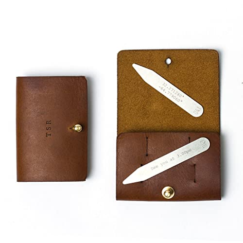 e42f5d6d3dbc Personalised Metal 60mm Collar Stiffeners With Leather Pouch Gift for Men   Amazon.co.uk  Handmade