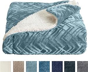 Home Fashion Designs Premium Reversible Sherpa and Fleece Velvet Plush Blanket. Fuzzy, Soft, Warm Berber Fleece Bed Blanket Brand. (Full/Queen, Blue Surf)