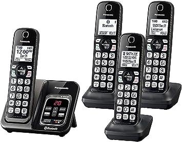 Panasonic KX-TG744 Link2Cell - Teléfono inalámbrico Bluetooth con reducción de ruido mejorada y contestador digital (4 auriculares), color negro: Amazon.es: Electrónica