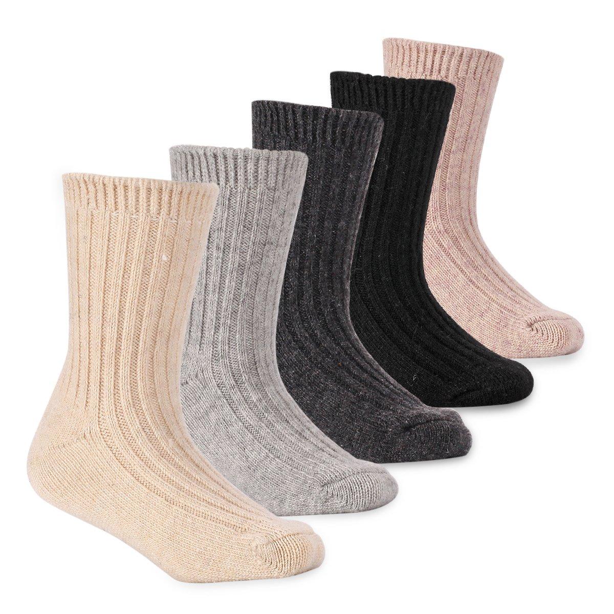 Boys Thick Wool Socks Kids Winter Seamless Warm Socks 5 Pack