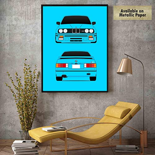 Amazon Com Bmw M3 E30 3 Series Front And Rear Poster Print Wall Art