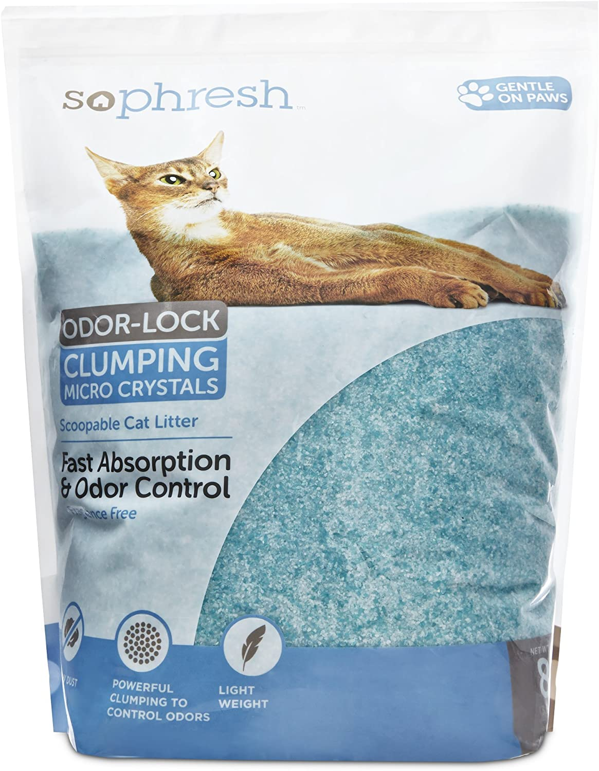 SO PHRESH Scoopable Odor-Lock Clumping Micro Crystal Cat Litter in Turquoise Silica