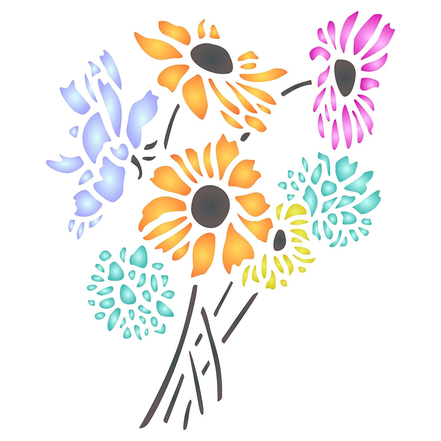 Daisy Flower Stencil - 6 5 x 8 inch (M) - Reusable Flora Bouquet Bunch Wall  Stencils for Painting - Use on Paper Projects Scrapbook Journal Walls