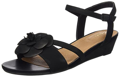e58d88c9532a Clarks Women s Parram Stella Black Nubuck Leather Sandals - 3.5 UK India  (36 EU