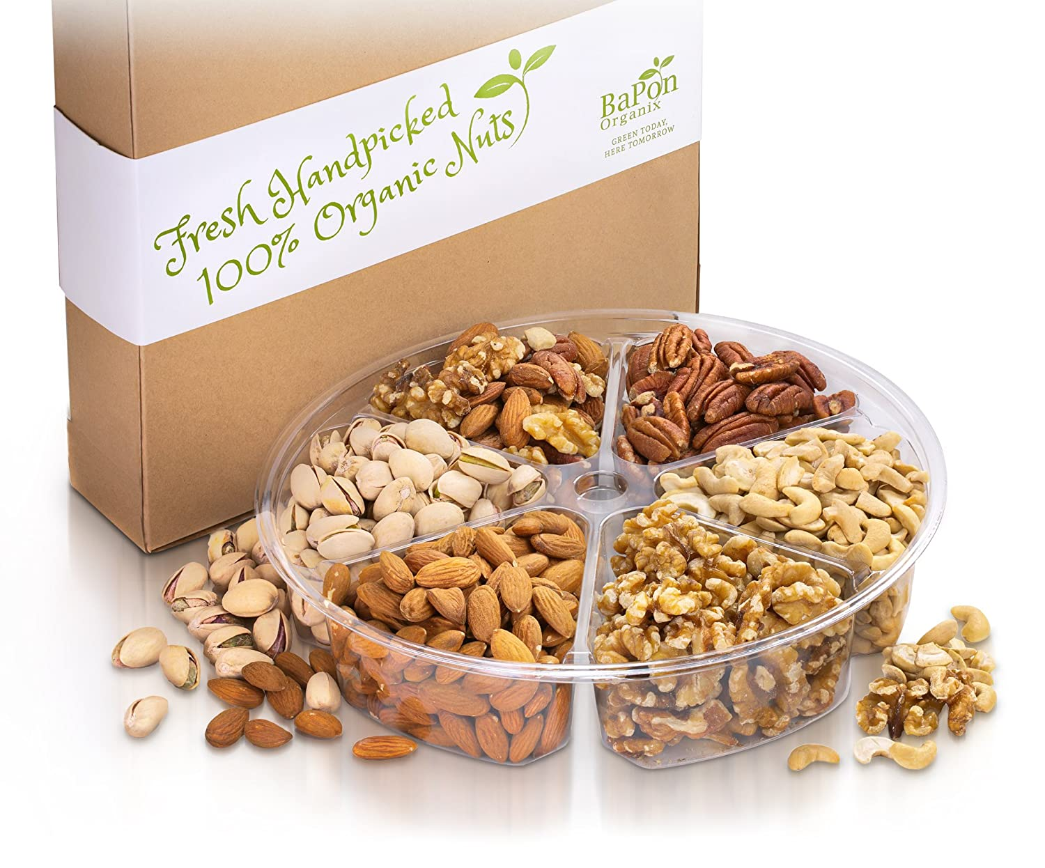 Organic Gourmet Nut Platter with Gift Box - 6 Flavor - Salted, Roasted, and  Raw Nuts Variety Pack,