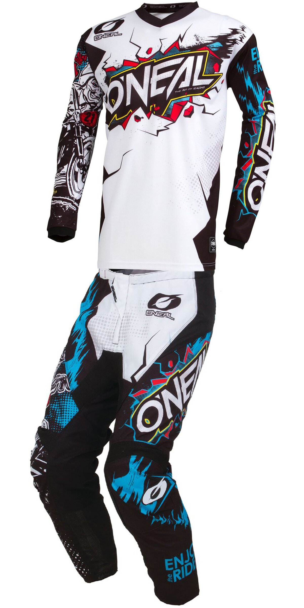 O'Neal - 2019 Element Villain (Youth Black & White Y-Small/Y-22W) MX Riding Gear Combo Set, Motocross Off-Road Dirt Bike Jersey & Pant