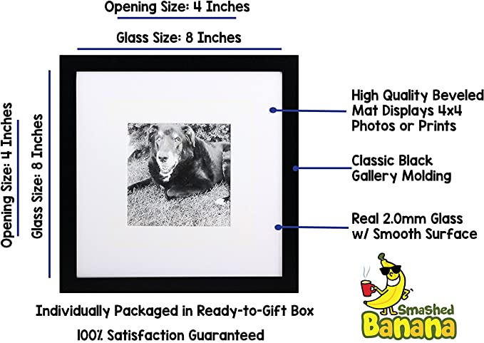 8x8 Black Gallery Picture Frame with 4x4 Mat - Wide Molding - Includes both  Attached Hanging Hardware and Desktop Easel - Display Pictures 8 x 8 or 4