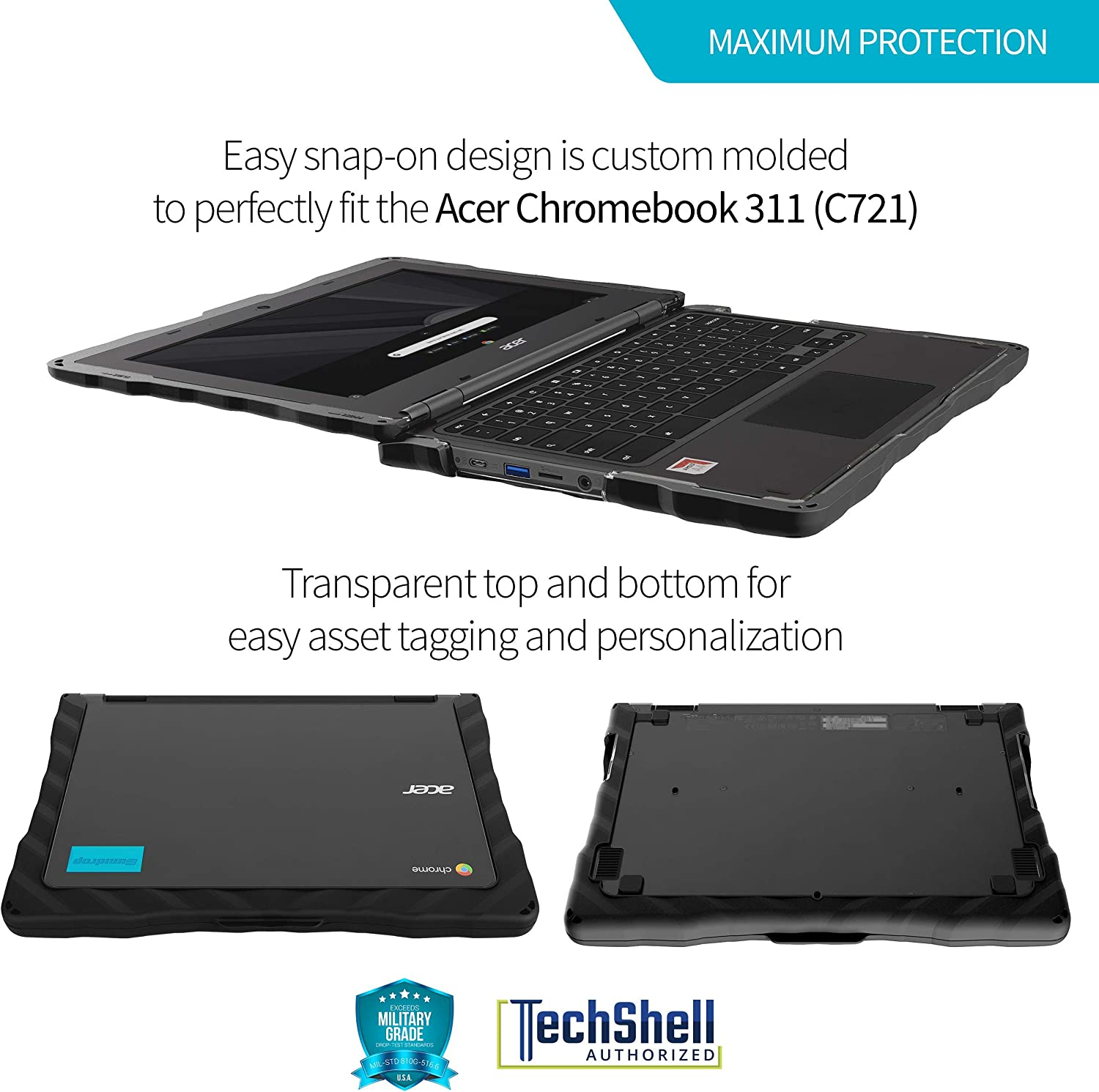 Chrome Laptop Shock Absorbing C721 School-Ready GumDrop DropTech Case Designed for Acer Chromebook 311 Extreme Drop Protection Cover Black Rugged Always-on