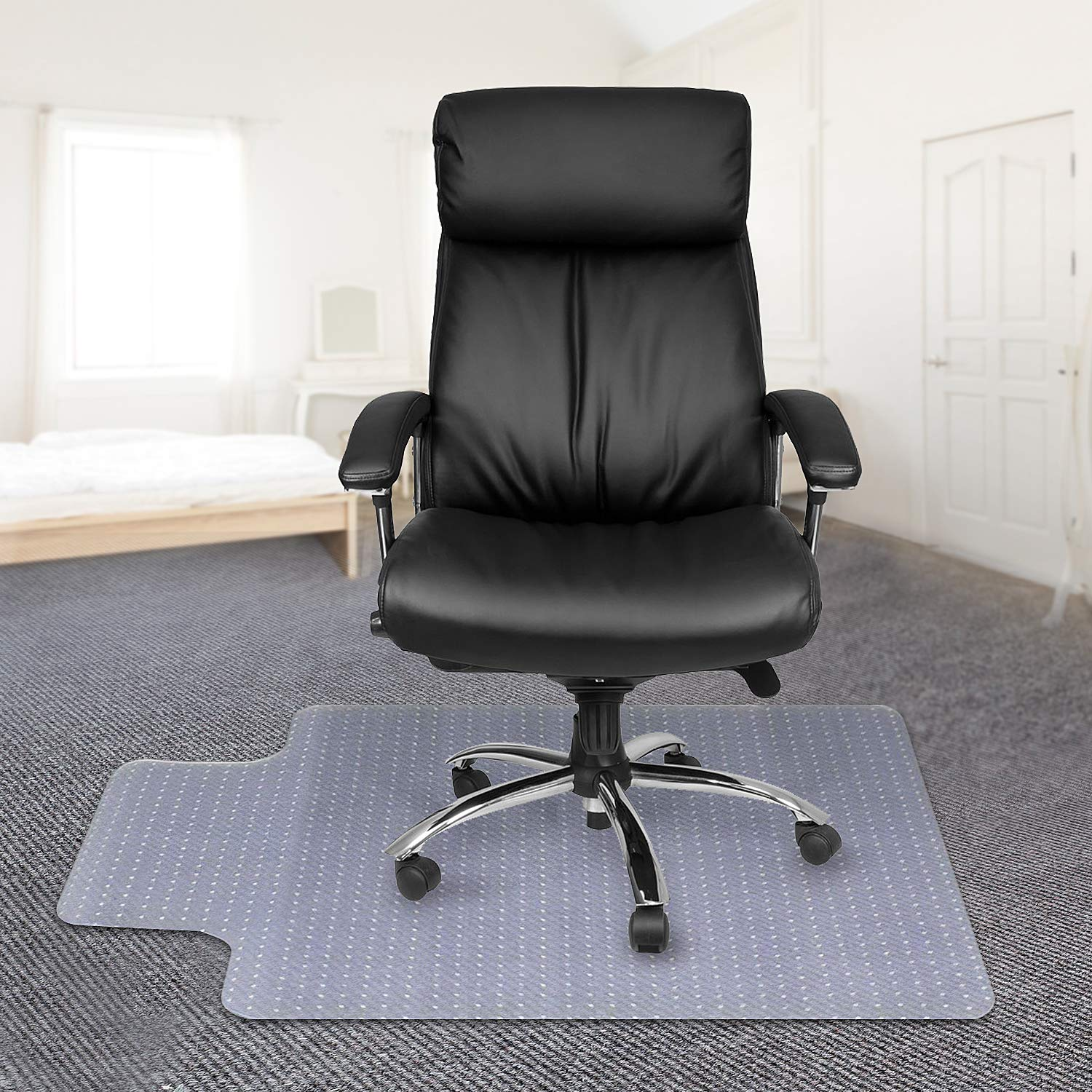 Kuyal Office Chair Mat for Carpets,Transparent Thick and Sturdy Highly Premium Quality Floor Mats for Low and Medium Pile Carpets, with Studs (30'' X 48'' with Lip)