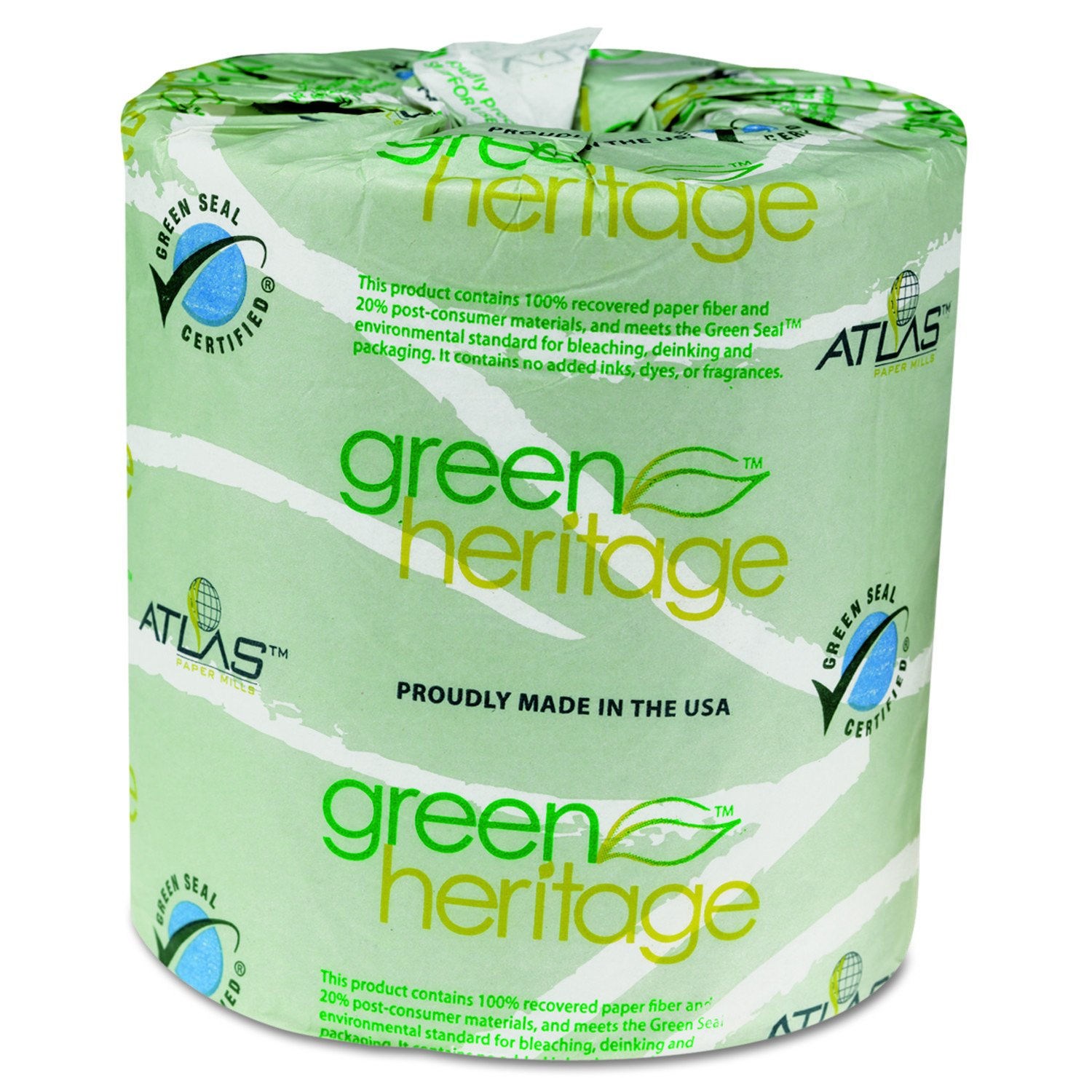 Green Heritage APM235GREEN Atlas Paper Mills 235GREEN Toilet Tissue, 4 1/2 x 3 1/2 Sheets, 2-Ply, 500 Per Roll (Case of 96 Rolls)