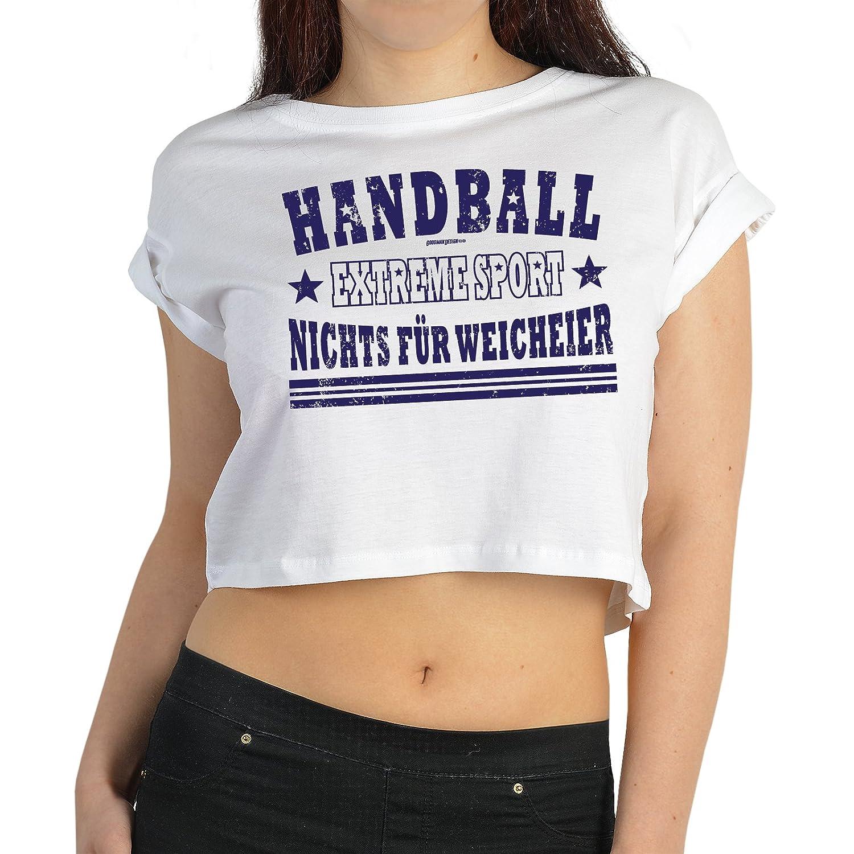 Sport Top Damen - Crop Top Sport : Handball / Handball Extreme Sport -- Sport Motiv T-Shirt Damen Farbe: weiss