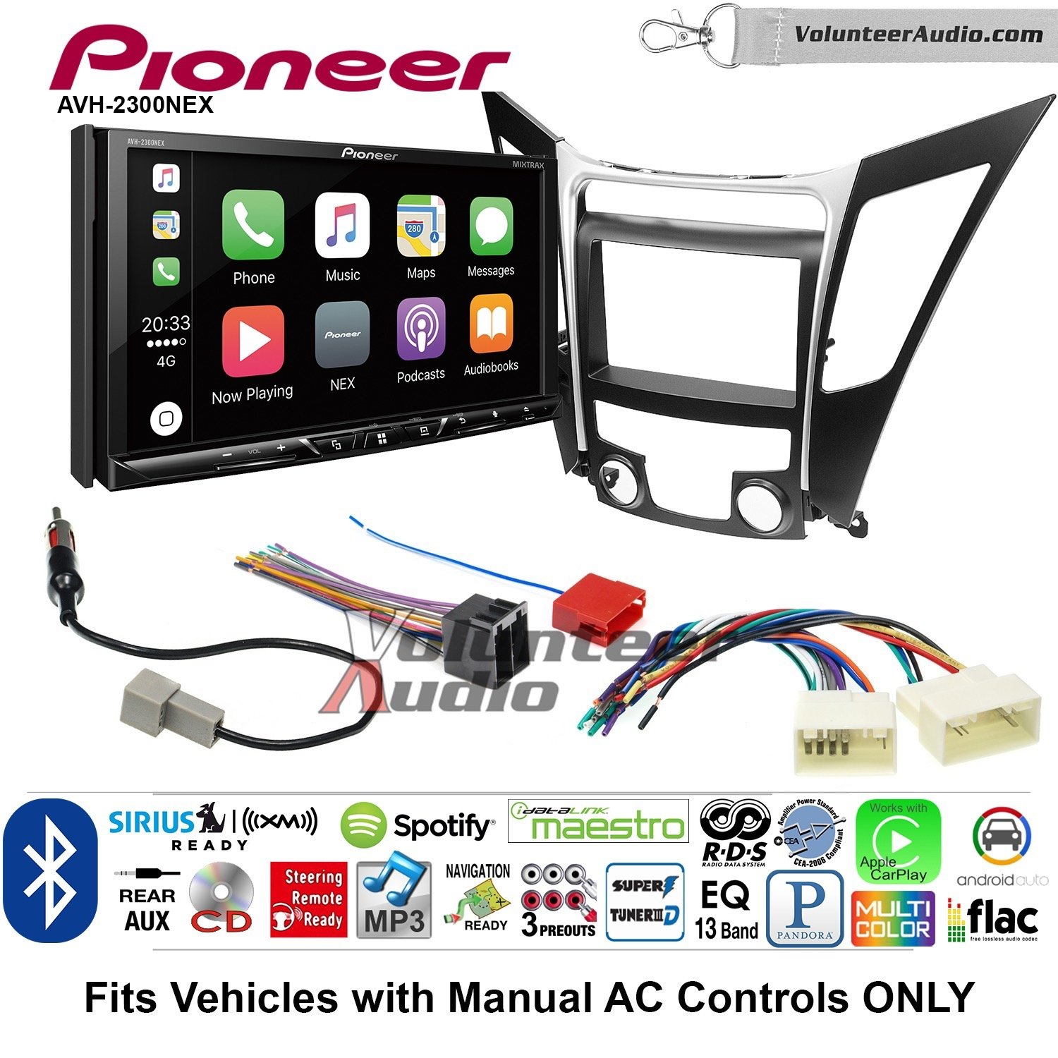 Volunteer Audio Pioneer AVH-2300NEX Double Din Radio Install Kit with Apple CarPlay Android Auto Bluetooth Fits 2011-2013 Hyundai Sonata