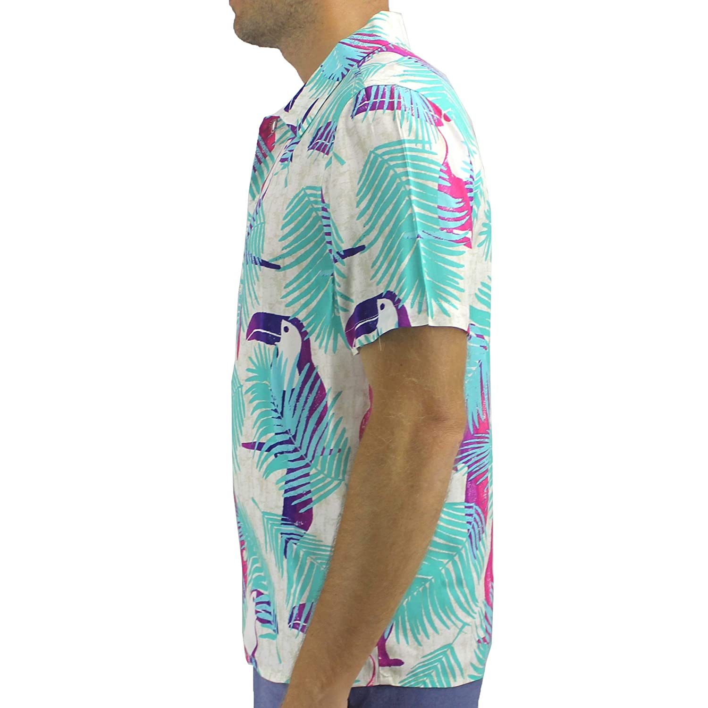 ROCK ATOLL Mens Toucan Tropical Bird Print Casual Button-Down Hawaiian Shirt