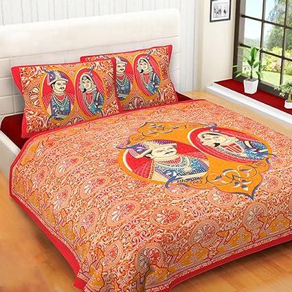 100% Pure Cotton Fabric Bedsheets Rajasthani Print|Sanganeri Design|Hand  Block Print|