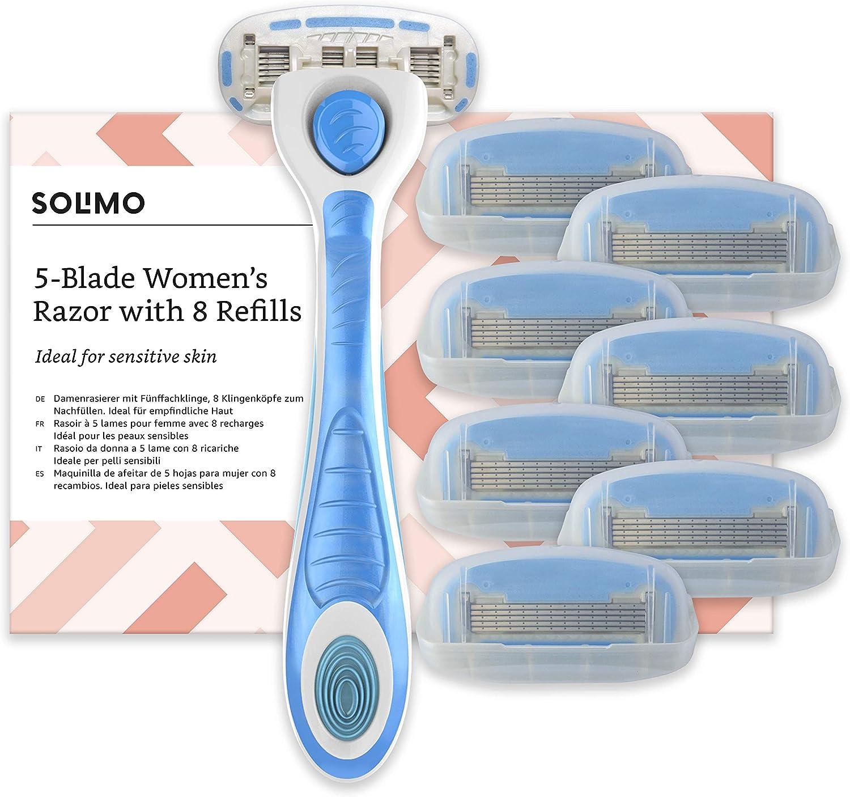 Marca Amazon- Solimo Maquinilla de afeitar de 5 hojas para mujer con 8 recambios