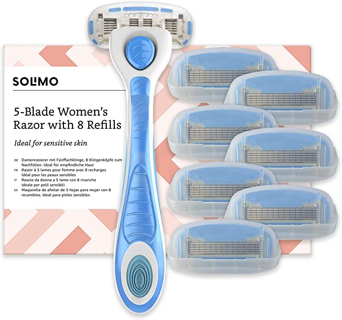 Marca Amazon- Solimo Maquinilla de afeitar de 5 hojas para mujer ...